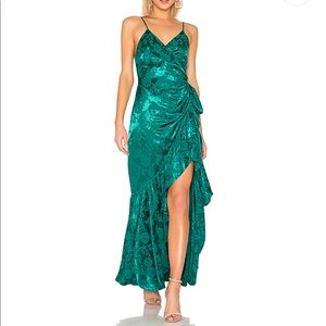 MAJORELLE Emereld Green Ruffle Wrap Dress